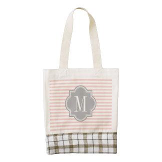 Blush Pink Stripes with Gray Monogram Zazzle HEART Tote Bag