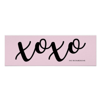 Blush Pink | Sweet xoxo in Black Typography Poster