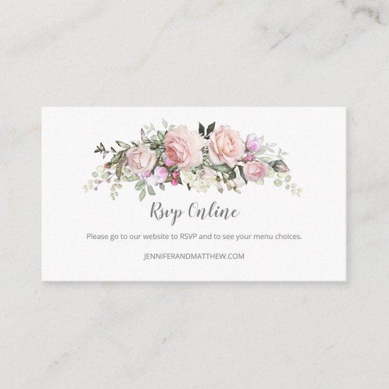 Blush Pink Sweetheart Roses Online RSVP | Enclosure Card