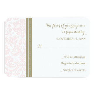 Blush Pink Tan Damask RSVP Wedding Card