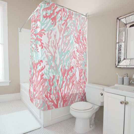 Blush Pink Teal Coral Hand Painted Reef Floral Shower Curtain