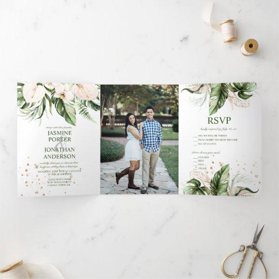 Blush Pink Tropical Greenery Photo Wedding  Tri-Fold Invitation
