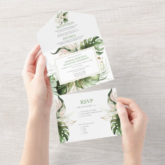 Blush Pink Tropical Lilies Greenery All In One Invitation
