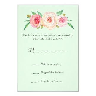 Blush Pink Vintage Floral Mint Wedding RSVP Card