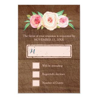 Blush Pink Vintage Floral Wood Wedding RSVP Card
