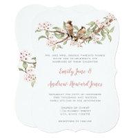 Blush Pink Vintage Love Bird Wedding Invitation