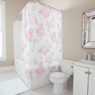 Blush Pink Vintage Roses Elegant Floral Shower Curtain