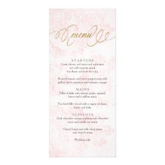 Blush Pink Vintage Roses Wedding Menu Card