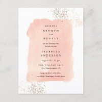 Blush Pink Watercolor Brunch Bubbly Bridal Shower Invitation Postcard