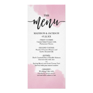 Blush Pink Watercolor Brush Strokes Wedding Menu