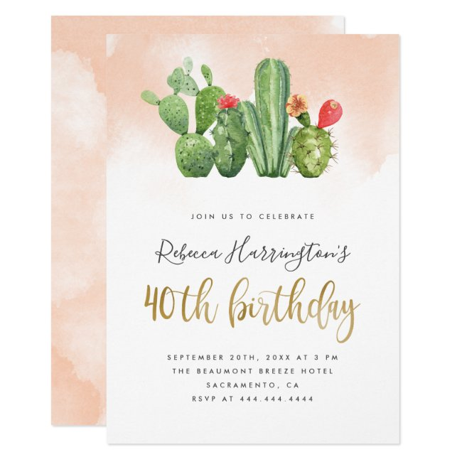 Blush Pink Watercolor & Cactus 40th Birthday Invitation