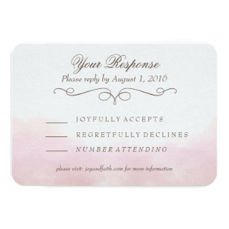 Blush Pink Watercolor Calligraphy RSVP Card