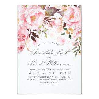 Blush Pink Watercolor   Floral Elegant Wedding Card