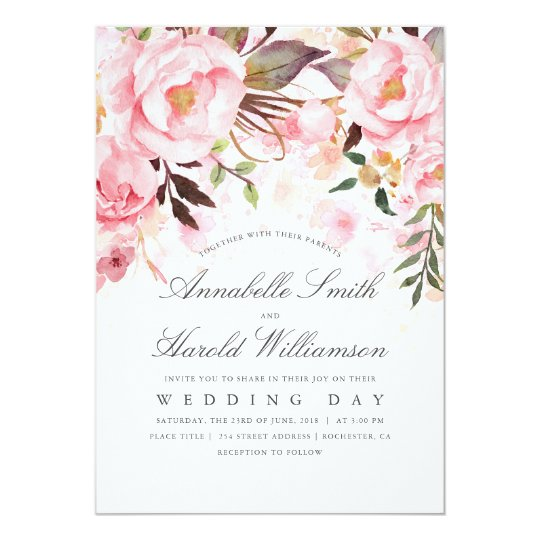 blush pink watercolor floral elegant wedding invitation zazzle com