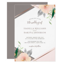 Blush Pink Watercolor Flowers Wedding Invitation
