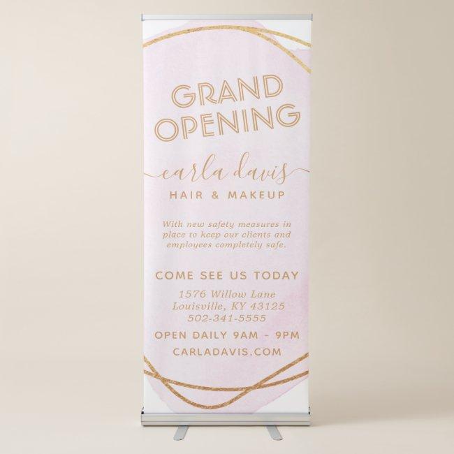 Blush Pink Watercolor Gold Circle Salon Reopening Retractable Banner