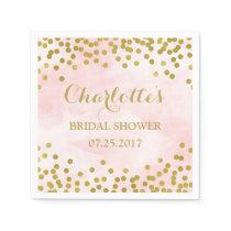 Blush Pink Watercolor Gold Confetti Bridal Shower Paper Napkin