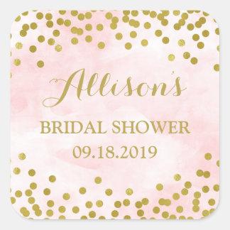 Blush Pink Watercolor Gold Confetti Bridal Shower Square Sticker