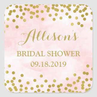 Blush Pink Watercolor Gold Confetti Bridal Shower Square Sticker