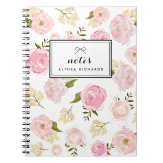 Blush Pink Watercolor Peonies Pattern Personalized Notebook