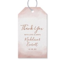 Blush Pink Watercolor Rose Gold Wedding Thank You Gift Tags