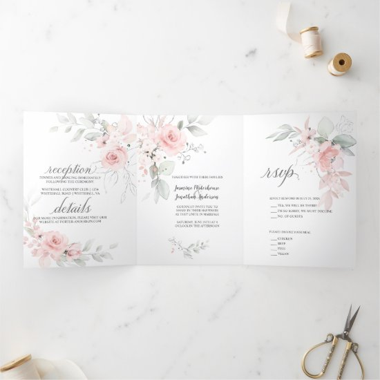 Blush Pink Watercolor Roses Sage Green Leaves Tri-Fold Invitation