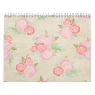 Blush Pink Watercolor Roses Shabby Chic Calendar