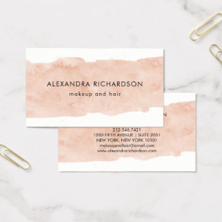 Blush Pink Watercolor Splash Business Card
