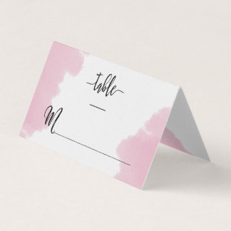 Blush Pink Watercolor Strokes Modern Table Number Place Card