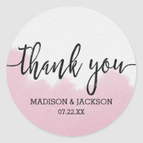 Blush Pink Watercolor Strokes Wedding Thank You Classic Round Sticker
