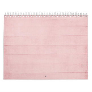 Blush Pink Watercolor Texture Look Girly Pastel Calendar