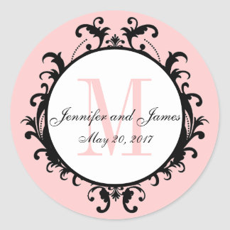 Blush Pink Wedding Initial Names Date Classic Round Sticker