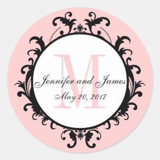 Blush Pink Wedding Initial Names Date Classic Round Sticker