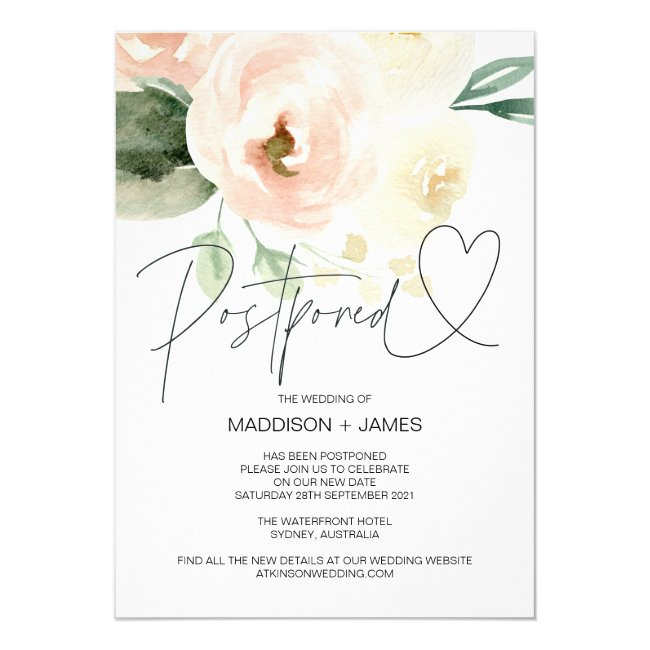 Blush Pink Wedding Postponed Change the Date Invitation