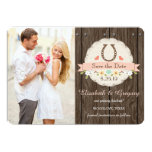 BLUSH PINK Western Horseshoe Save the Date Card