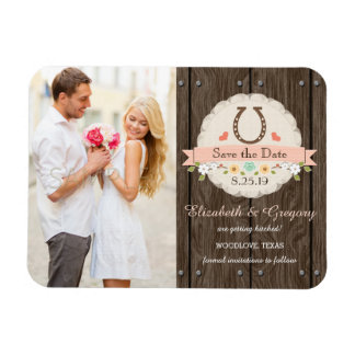 Blush Pink Western Horseshoe Save the Date Magnet