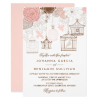Blush Pink Whimsical Birdcages Wedding Invitation