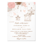 "Blush Pink Whimsical Birdcages Wedding Invitation 5"" X 7"" Invitation Card"