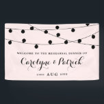 """Blush Pink Whimsical Fairy Lights Rehearsal Dinner Banner<br><div class=""""desc"""">Modern and feminine rehearsal dinner welcome banner featuring elegant white string lights and modern calligraphy script. Other colors and matching items are available.</div>"""