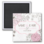 Blush Pink  Whimsical Flowers Save the Date Magnet
