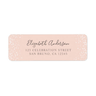 Blush Pink & White Confetti Wedding Label