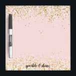"Blush Pink White Gold Confetti Sparkle Dry Erase Board<br><div class=""desc"">Blush Pink White Gold Confetti Sparkle personalized</div>"