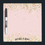 "Blush Pink White Gold Confetti Sparkle Dry Erase Board<br><div class=""desc"">Blush Pink White Gold Confetti Sparkle personalized</div>"