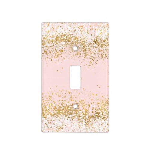 Blush Pink White Gold Confetti Sparkle Light Switch Cover