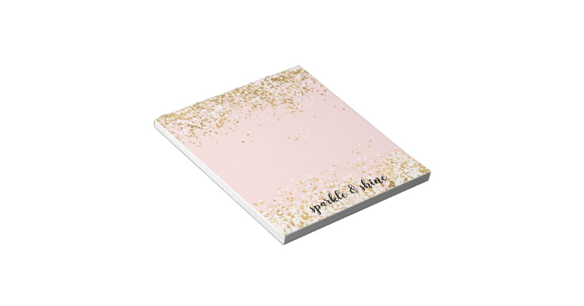 Blush Pink White Gold Confetti Sparkle Notepad   Zazzle.com