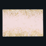"Blush Pink White Gold Confetti Sparkle Placemat<br><div class=""desc"">Blush Pink White Gold Confetti Sparkle</div>"