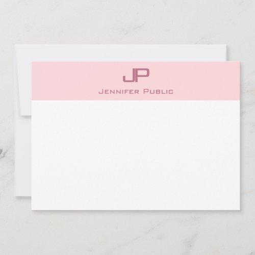 Blush Pink White Simple Template Elegant Monogram