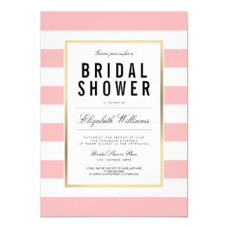 Blush Pink White Striped Gold Bridal Shower Invite