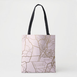 Blush Pink with Gold Look Map Add Name Tote Bag