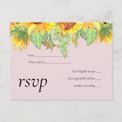 Blush Pink with Sunflowers Wedding Budget Invitation Postcard